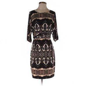 Snake Print Dolman Sleeve Dress